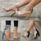 New Womens Clear Heel And Strappy Peep Toe Sandals Ladies Party Fashion Shoes