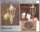 1/12 Working LED Battery No wiring Needed Dolls House Brass Coach Wall Light LGW