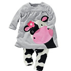 2pc Baby Girls Clothing Set  Long Sleeve Cow Tops T-Shirt+Pants Outfit