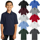 Port & Company Youth Polo T Shirts Short Sleeve Jersey Blend Uniform Kids Boys