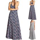 Floral Print Spaghetti Strap V Neck Crossed Tie Back Long Maxi Dress S M L