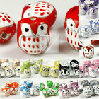 10pcs Chinese Porcelain Owl Animal Spacer Beads Pendant Wholesale 17x15mm