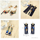 Lots Style Bohemia Retro Round Tassel Crystal Feather Long Earrings Jewelry