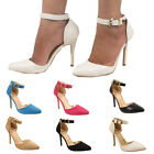 LADIES STRAPPY STILETTO HIGH HEEL SANDALS WOMENS ANKLE STRAP BUCKLE CUFF SHOE
