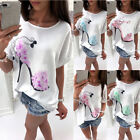 New UK Womens Autumn High-heeled Print Top Beach T-Shirt Loose Maxi Blouse Tops