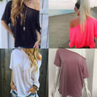 Fashion Women Summer One Shoulder Loose Short Sleeve T-shirt Tees Tops Blouse