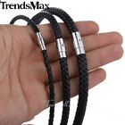 Braided Rope Cord Necklace Mens Chain Womens Brown Man-made Leather 4/6/8mm image