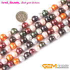 Fashion Multi-color Round Freshwater Pearl Gemstone Beads for Jewerly Strand 15""