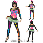 CL574 Neon Skeleton Skeletons Costume 80s 1980s Womens Skull Adult Fancy Dress