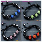 "10mm Pave Beads Rhinestones Disco Ball Beads Crystal Hand-woven  Bracelet 6""-8"""