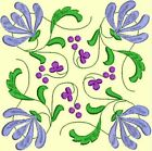 Anemone Quilt Squares 2- DESIGN 4- Anemone Machine Embroidery Singles In 4 Sizes