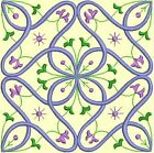 Anemone Quilt Squares 2- DESIGN 5- Anemone Machine Embroidery Singles In 4 Sizes