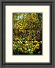 Global Gallery A Leaded Glass Window of a Woodland Scene Framed Painting Print