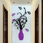 DIY 3D Flower Vase Art Home Room Office Decoration Mirror Wall Stickers TXCL01