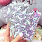 New Dynamic Glitter Liquid Unicorn Patterned Clear Case Cover For Various Model