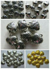 10 Love Heart Charms, Pendants In Silver - Tibetan Silver - Gold 18mm Crafts