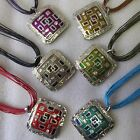 Wholesale 6 Or 12 Fab Enamel Square Patterned Necklaces-Choose Quantity