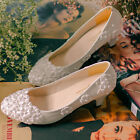 Womens White Bride Wedding Shoes Formal Floral High Heel Stilettos Pumps US Sz