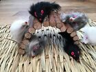 2 x Real Rabbit Fur Mice Cat Kitten  Toys Long Hair And Rattle Cats Love These