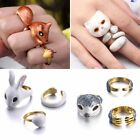 3Pcs/Set Fashion Animal Rabbit Cat Knuckle Finger Rings Women BFF Jewelry Gift