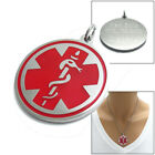 Stainless Steel Round Caduceus Medical Pendant w/ Necklace- Free Engraving
