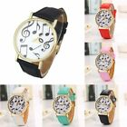 Fashion Women Men Musical Note PU Leather Round Dial Quartz Watch Wristwatch