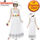 CA428 White Ladies Day Of The Dead Skeleton Bride Halloween Fancy Dress Costume