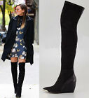 Womens Celeb Luxury Sexy Black Leather Wedge Heel Over The Knee Boots Shoes E130