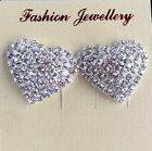 New SIZE S M L heart Full Crystal Rhinestones silver Stud Earring For Women gift