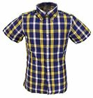 Brutus Trimfit Navy/Yellow Short Sleeved Vintage Retro mod Button Down shirts …