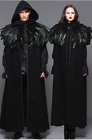 Gothic Witch Warlock Black Long Hooded Cloak Cape w/Feathers Shrug Caplet Jacket