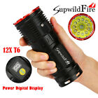 Supwildfire 35000LM 12 x XM-L T6 LED Power Digital Display Hunting Flashligt Hot