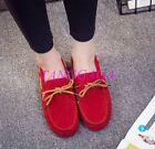 Womens Bowtie Loafers Simple Vogue Chic Gommino Shoes Flats Faux Suede Comfort