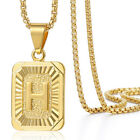 Mens Women Chain Gold Plated Pendant Necklace Square Initial Letter A-Z Box Link
