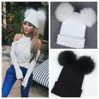 Women's Winter Outdoor Chunky Knit with Double Fur Pom Pom Cute Beanie Hat Lot