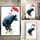 Home Cartoon Animal Bike Painting Decoration Print Poster Picture Canvas Decor