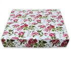 AF301t Dark Red Flower Cotton Canvas 3D Box Sofa Seat Cushion Cover Custom Size