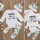 Newborn Infant Baby Girls Boy Rainbow Romper Jumpsuit Long Pants Outfits Clothes