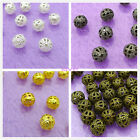 Lots Silver Plated Filigree Beads Spacer 4/6/8mm Gold Bronze Black free shipping