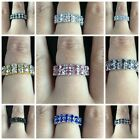 12Fashion Jewellery Crystal Elastic Two ROW Rings Flower wedding Party Resizable