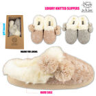 LADIES POM POM CARDIGAN KNITTED WARM WINTER FUR LINED SLIP ON MULE SLIPPERS SIZE