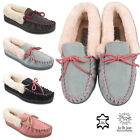 LADIES LEATHER SUEDE MOCCASIN MULES WARM WINTER FUR LINED WOMENS SLIPPERS SHOES