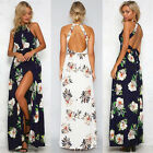 UK Womens Holiday Sleeveless Ladies Maxi Long Summer Print Beach Dress Size 8-20