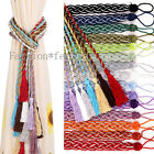 2PCS Curtain Tiebacks Knitted Cord Rope Buckle Window Tie Backs Many Colors