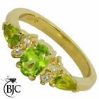BJC® 9ct Yellow gold Peridot & Diamond Cluster size O engagement dress ring R141