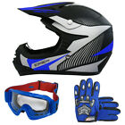 LEOPARD Kids Motocross Helmet Goggles Gloves Set Quad Pit Bike Off Road Blue