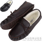 Mens / Gents Leather Wool Lined / Sheepskin Moccasins / Slippers