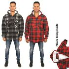 MENS LUMBERJACK CHECK HOODED PADDED SHIRT THICK FUR LINED HOOD WINTER WORK SHIRT