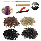 200 Silicone Micro Rings Beads Feather Hair Extension Tools Set Pliers Loop Hook
