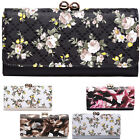 Floral Large Flap Over Purses Patent Trifold Matinee Bobble Clasp Women Wallets
